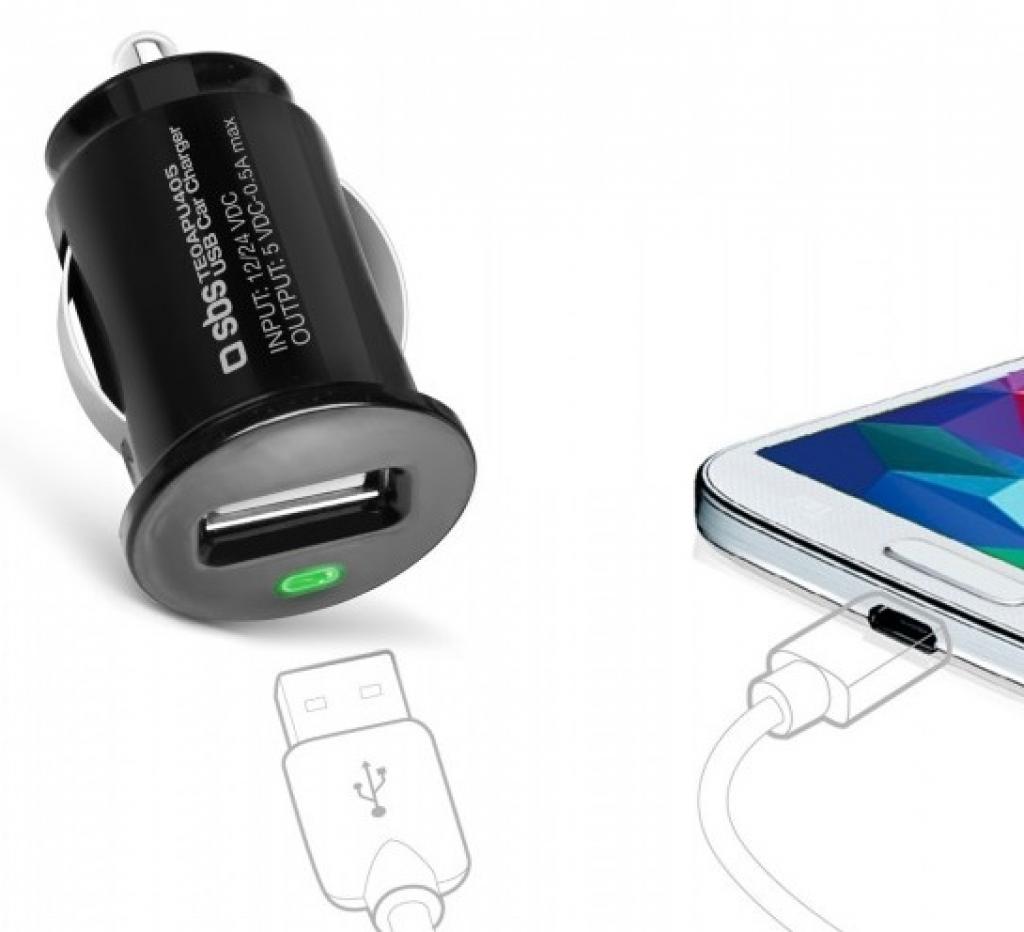 Зарядно за кола SBS Mini car charger USB 12/24V, 500 mAh TE0APU405