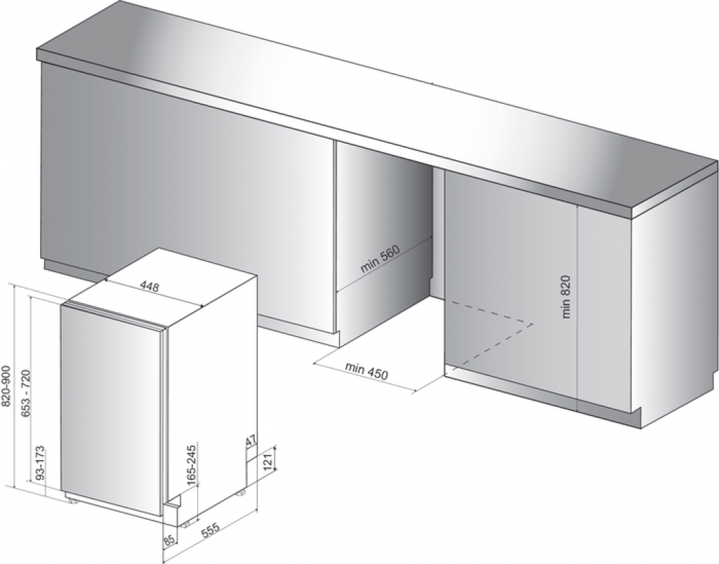 Съдомиялна машина за вграждане Whirlpool WSIC3M17