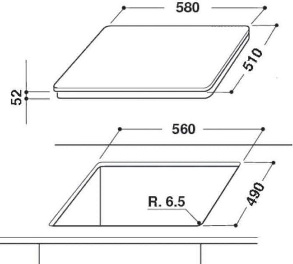 Плот за вграждане - керамика/нестандартен Whirlpool ACM800/NE