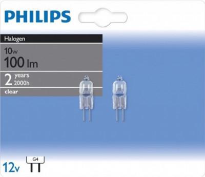 Крушка Philips Halogen амп 10W/2BL 12 V  G4 2y