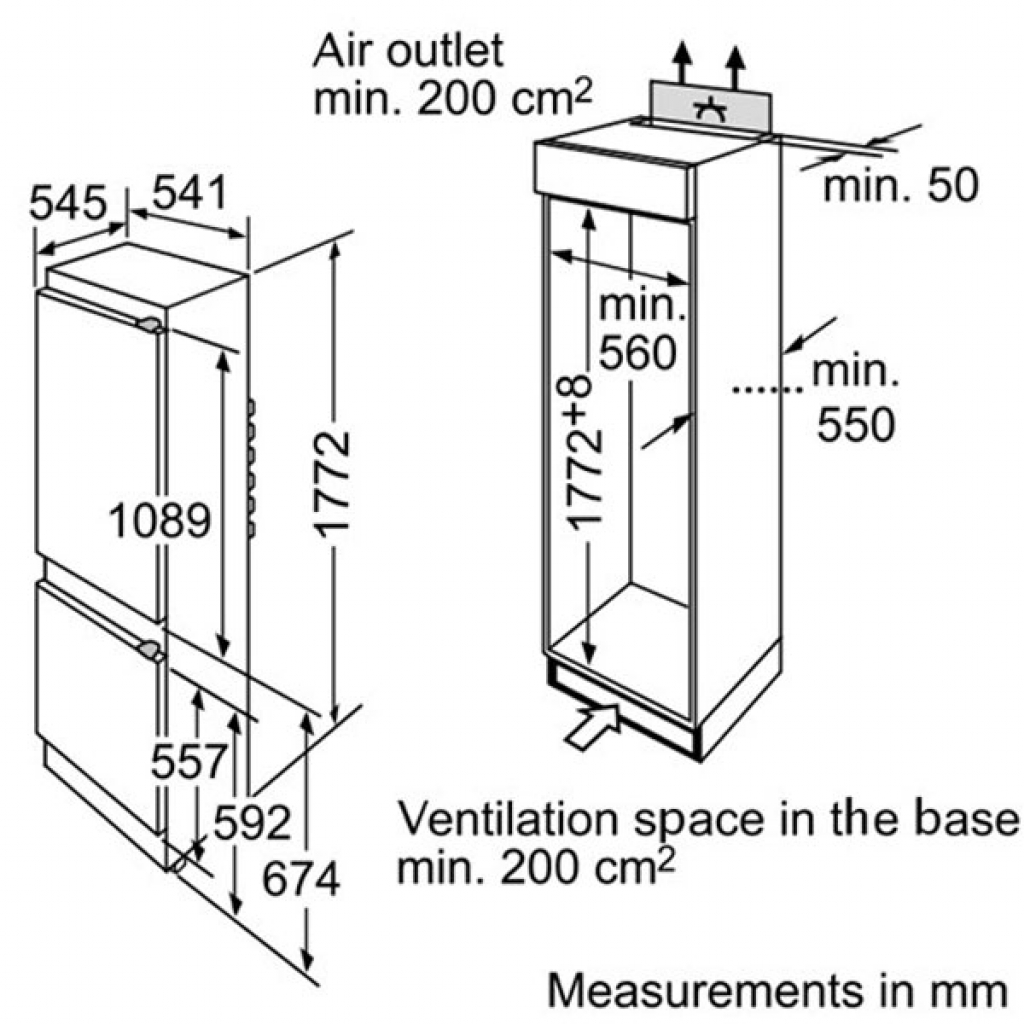 Хладилник за вграждане Bosch KIV38X20