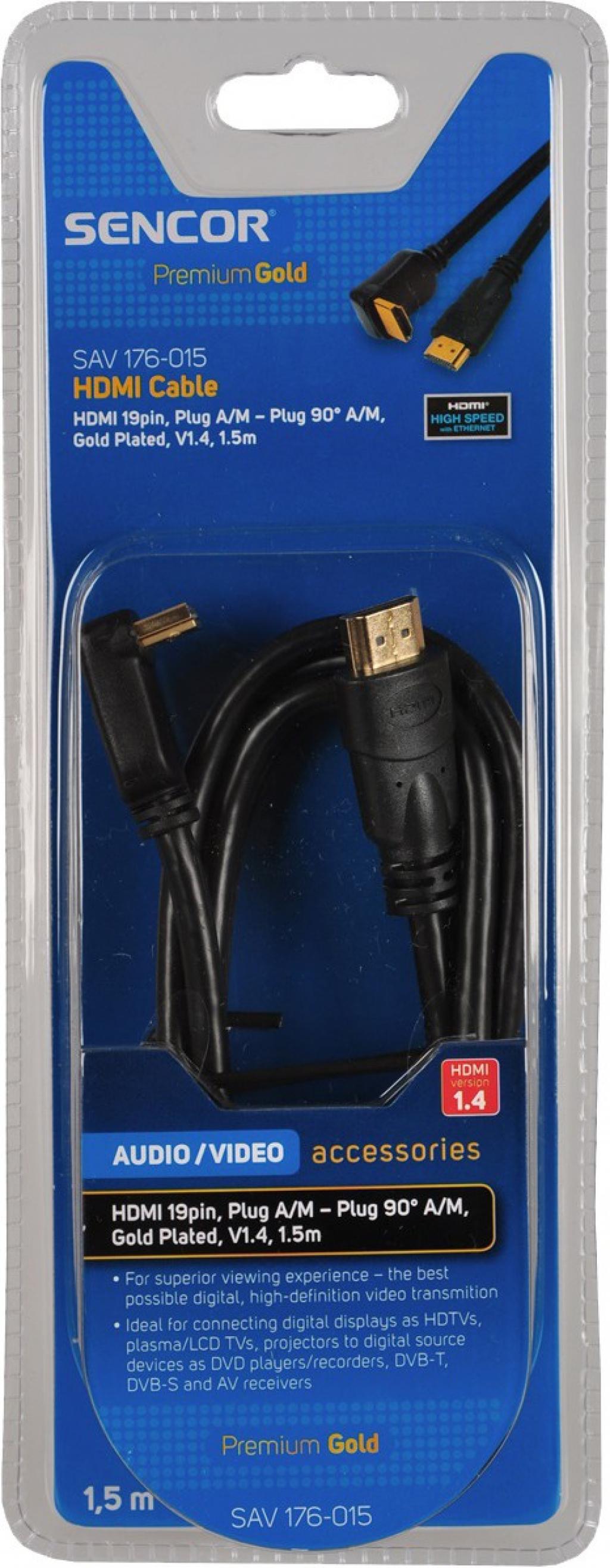 Кабел Sencor SAV 176-015 HDMI A-A 90DEG.V1.4 1.5m