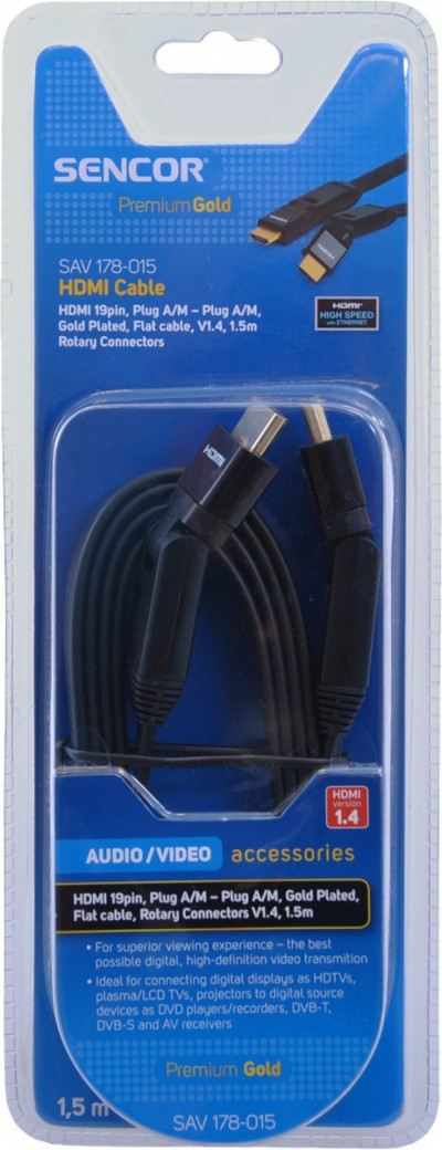 Кабел Sencor SAV 178-015 HDMI A-A R.RL.V1.4 PG 1.5m