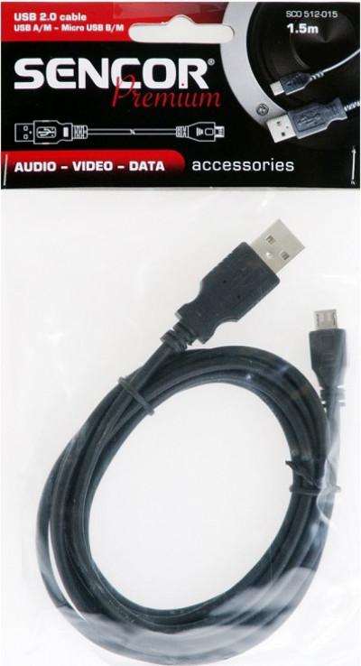 Кабел Sencor SCO 512-015 USB A/B-Micro 1.5m