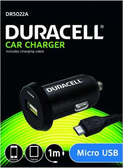 Зарядно за кола Duracell single USB DR5022A с 1м микро USB кабел , черно