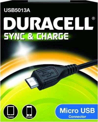 Кабел Duracell 1m sync/charge micro USB черен USB5013A