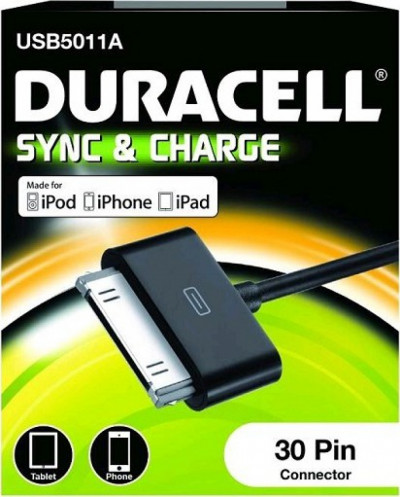 Кабел Duracell 1m sync/charge кабел за apple черен USB5011A
