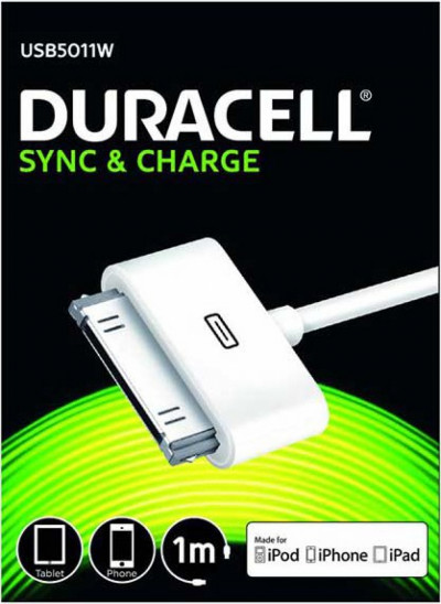 Кабел Duracell 1m sync/charge кабел за apple бял USB5011W