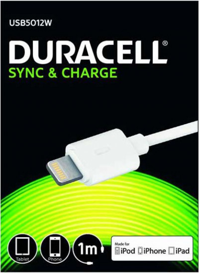 Кабел Duracell 1m sync/charge кабел за apple бял USB5012W